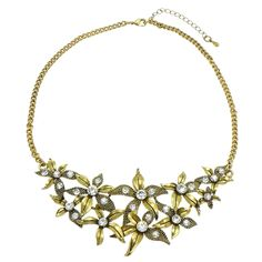 Antiqued Gold Tone Star Blossom Rhinestone Statement Necklace $16.00