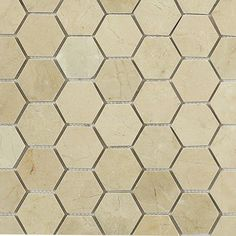 365 Day Return Guarantee And Oversized Samples Available On Hexagon Mosaics In Polished Crema Marfil Marble. Stone Mosaic Tile, Marble Mosaic, Mosaic Tiles, Mosaics, Cabana Decor, Walk In Shower Designs, Hexagon Tiles, Tile Patterns, Home