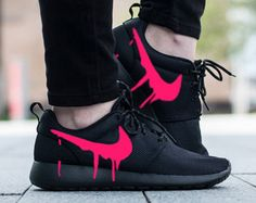 27f6427f6561 Custom Red Rose Green Pink Floral Print The base shoe used is the Nike  Roshe Triple Black The fabric is glued directly on the swoosh and shoes.