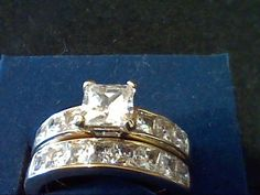 2.50 CTW PRINCESS WEDDING ENGAGEMENT BRIDAL 2 PC RING SET + GIFT! SZ 8 #EXCEPTIONALBUY #SolitairewithAccents