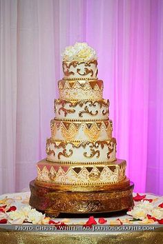 6 tier Gold Gilded wedding cake  ~ all edible  ~ great piece of work!