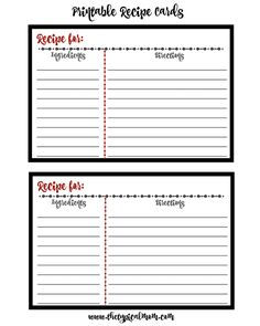 Free Printable Recipe Cards  Diy Organization Recipe Cards And