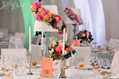 Table numbers, colourful wedding table.
