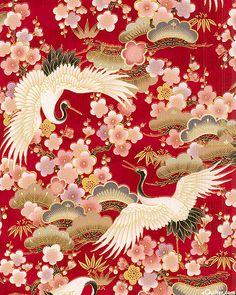 Hyakka Ryoran 1000 Tsuri - Cranes & Blossoms - Scarlet/Gold