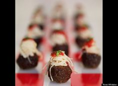 spaghetti and meatballs...these would be cute served in a fancy cupcake holder...