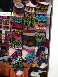 Peruvian Socks, love the Intarsia work and the color combination.
