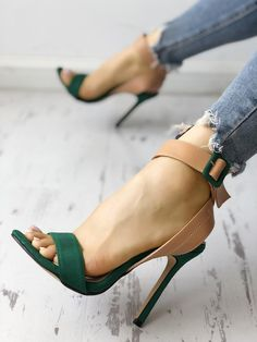 Shop Colorblock Ankle Buckled Slingback Thin Heeled Sandals right now, get great deals at Chiquedoll Lace Up Heels, Ankle Strap Heels, Ankle Straps, Pumps Heels, Stiletto Heels, High Heel Boots, Heeled Boots, Heeled Sandals, Sandals Outfit