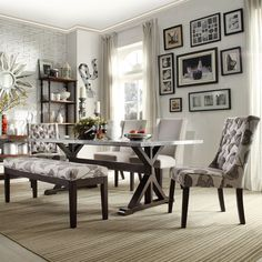 Maxon Espresso Steel-Top Trestle Base Dining Table