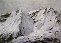 Mountain With Snow II - Calo Carratala, Oil on Board Spanish Artists, Sierra Nevada, Snow, Oil, Mountains, Contemporary, Landscape, Gallery, Board