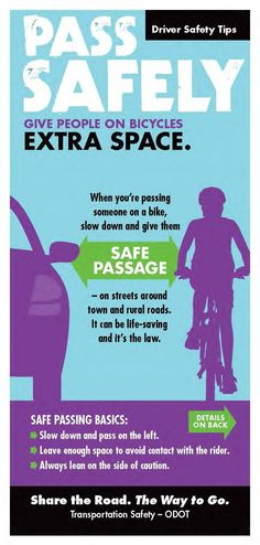 Pass safely. Give people on bicycles extra space, by the Oregon Department of Transportation, Transportation Safety Division