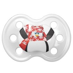 Penguin with Santa Hat Ice Skating Illustration Pacifier #christmas #kids #clothing #baby