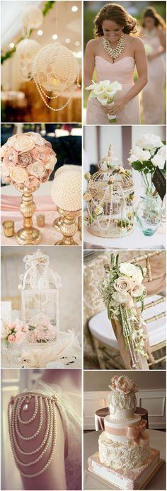 25 ideas para utilizar perlas para una boda vintage. #BodasVintage