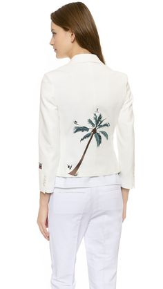 C x Mira Mikati Tree Embroidered White Blazer