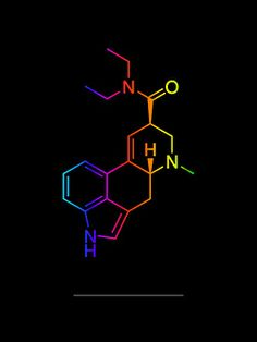 LSD molecule art print. https://society6.com/product/lsd-color-in-black_print?curator=moleculestore Lysergic acid diethylamide, abbreviated LSD or LSD-25, also known as lysergide and colloquially as acid, is a semisynthetic psychedelic drug of the ergoline family, well known for its ...