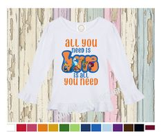 Beat Bugs LONG sleeve All You Need Is Love Boutique Ruffle Shirt by OurOwnGlueDesigns on Etsy