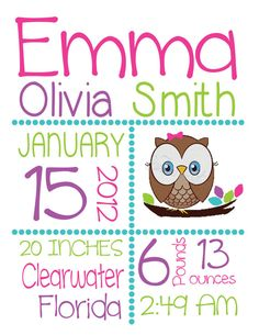 Baby Girl Birth Announcement Owl or Bird Custom by BambinaBowtique on Etsy