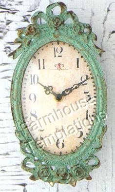 Aqua Wall Clock Paris Shabby French Cottage Hanging Chic Decor Turquoise Rose   eBay