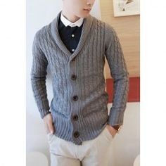 Stylish Turn-Down Collar Kink Design Long Sleeves Cotton Blend Cardigan For Men
