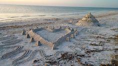 Sanibel beach - shell sand art - castle - 2014