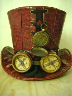 Steampunk Red Leather Look Top Hat with Rustic Compass Goggle with Compass Lens | eBay