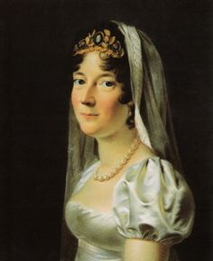 Marie Sophie of Hesse-Kassel, Queen consort of King Frederick VI, wearing a cameo tiara, Denmark (early 19th c.).