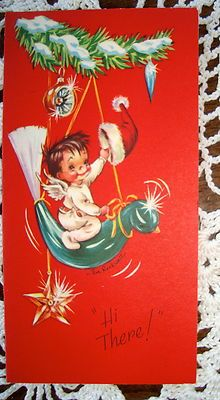 Vintage Christmas Greeting Card - Eve Rockwell Angel riding ornament EB1141