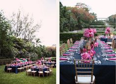 Love the navy table cloth, pink flowers and peacock feathers <3