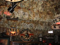McGuires Irish Pub in Pensacola, FL. How many dollars have been stapled to the wall? (They have to count every one for taxes!)