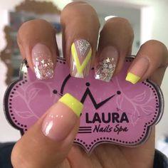 Nail Spa, Nail Manicure, Toe Nails, Nail Polish Art, French Tip Nails, Yellow Nails, Glitter Nails, Beauty Nails, How To Do Nails