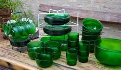 6 Persoons Vintage Groen Glasservies Sierra Arcoroc 38-delig