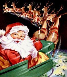 Vintage Santa. Retro Santa. 1950's Christmas Card. Retro Christmas Card.