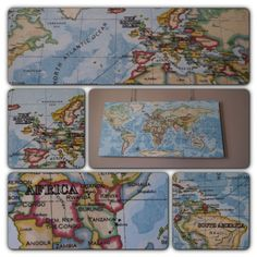 Cotton Anniversary Gift - I bought a map of the world printed onto fabric and stitched on  the trips we had taken.