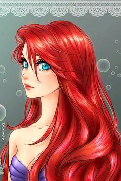 Ariel [as a mermaid] (Drawing by Mari945 @deviantART) #TheLittleMermaid
