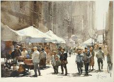 【The flea market / 跳蚤市場】 Sketch demo by Chien Chung Wei, 19 x 27 cm