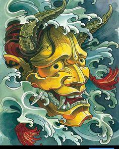 Oni Mask Tattoo Designs and Ideas - Tats 'n' Rings Oni Tattoo, Hannya Maske Tattoo, Hanya Tattoo, Samurai Tattoo, Irezumi Tattoos, Tattoo Arm, Japanese Mask Tattoo, Japanese Tattoo Designs, Japanese Sleeve Tattoos
