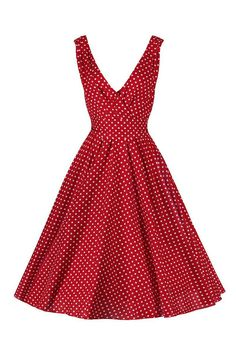 Red and White Polka Dot Sleeveless Rockabilly Pin-Up 50s Swing Dress