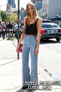 The Trajectory of You as Told by Your Jeans | Man Repeller: Or, for those born tall/anyone in-the-know at all, denim's pièce de résistance currently resides in the form of a sartorial portmanteau (shout out to the style of Marcia Brady) whereupon the jeans are not only flared, but also cropped. The waist, high. The morale, higher; and you at your current stage-of-life, debating whether or not you'll try out that whole Brooke Shields thing come spring while you silently pray the boot cut of…