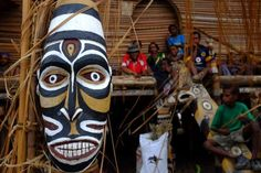 A mask at the Melanesian Festival of Arts and Culture held in Papua New Guinea, 2014.