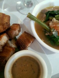 Filipino food. Lechon Kawali and Sinigang (sour soup with veggies and meat) @ Tito Rads, Sunnyside