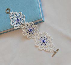 Wedding White lace bracelet tatted by TattingLaceJewellery on Etsy