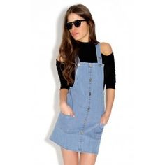 Denim dungaree dress with front button detailing Fabric:100% Cotton