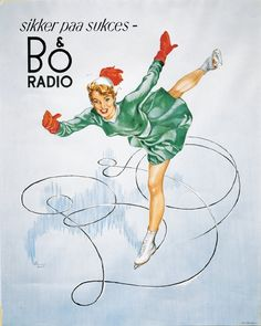 Bang & Olufsen poster from 1950 with Norwegian skate princess Sonja Henie.