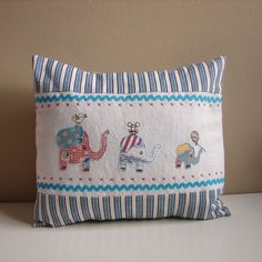 Blue elephant cushion by Roxy Creations, via Flickr