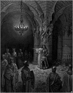 """Bradamante learns of the future descendants of herself and Ruggiero, from the sorceress Melissa"" Gustave Doré's illustration of Ludovico Ariosto's ""Orlando Furioso"" [source: Wikipedia.org]"