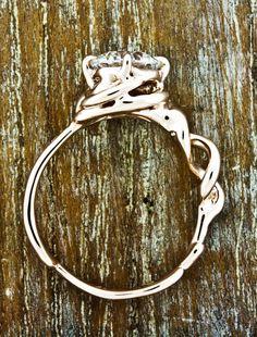 Unique Custom Double-helix Engagement Rings by Ken & Dana Design - Mandy front view