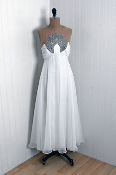 1960's Vintage Crisp-White Beaded Rhinestone Chiffon-Couture Illusion Shelf-Bust Empire Tea-Length Bombshell Grecian-Goddess Party Dress