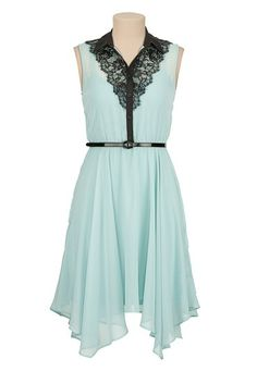 Contrast lace Belted Chiffon Dress (original price, $44) available at #Maurices