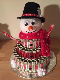 Snowman money cake