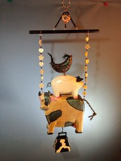 Farm animals cow pig chicken mobile cow bell by MagpieDoodads