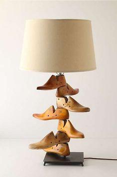 Shoe Last Lamp By Anthropologie Wooden Lamp Repurposed Home Lighting, Lighting Design, Diy Luminaire, Taupe Walls, Shoe Molding, Shoe Last, Rustic Wall Decor, Inspired Homes, Repurposed Furniture